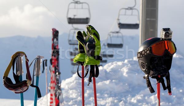 Attrezzature sportive sci resort sereno sera auto Foto d'archivio © BSANI