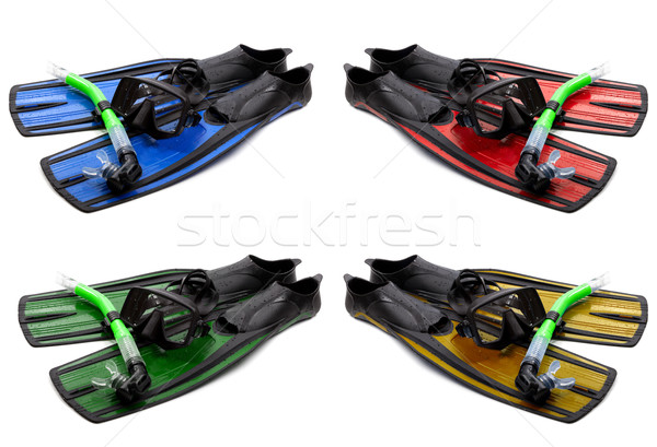 Set of multicolored mask, snorkel and flippers with water drops Stock photo © BSANI