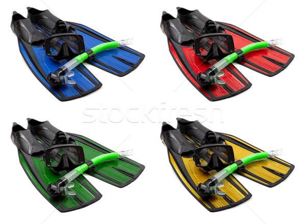 Set of multicolored mask, snorkel and flippers Stock photo © BSANI
