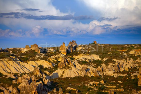 Beautiful view of evening Cappadocia valley Stock photo © BSANI