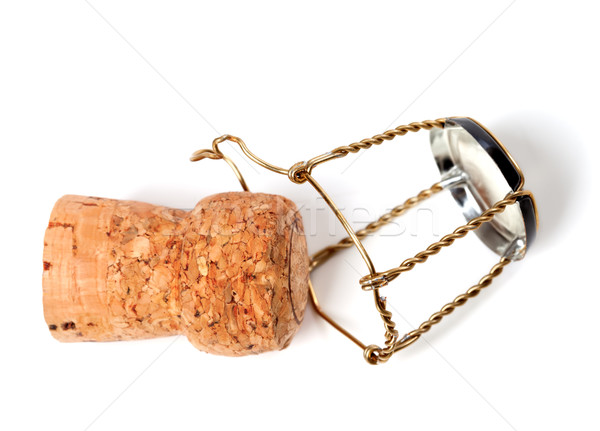Champagne wine cork and muselet isolated on white background Stock photo © BSANI
