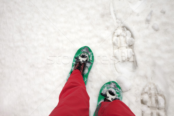 Hiker in snowshoes on snow Stock photo © BSANI