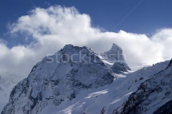 Kafkaslar manzara buz kış mavi kaya Stok fotoğraf © BSANI