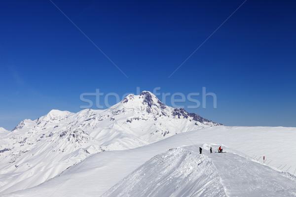Kafkaslar dağlar Georgia Kayak başvurmak gökyüzü Stok fotoğraf © BSANI