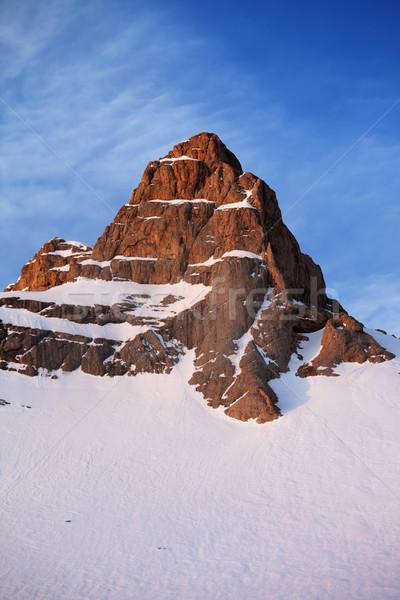 Snowy rocks at sunrise Stock photo © BSANI