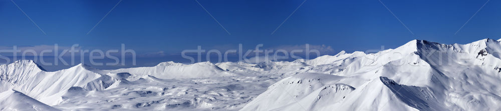 Panoramic view on snowy plateau and slopes for freeriding at nic Stock photo © BSANI
