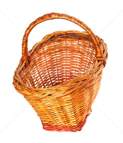 Empty wicker basket. Isolated on white background. Stock photo © BSANI