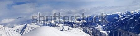 パノラマ スロープ 曇った 山 コーカサス グルジア ストックフォト © BSANI