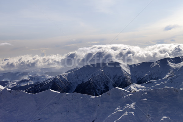 Stock photo: Winter mountains in evening