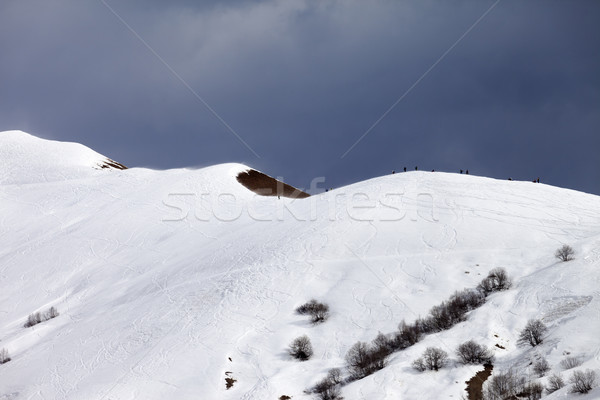 Stock photo: Off piste slope and overcast sky