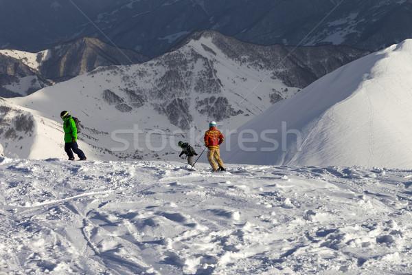 Freeriders on off-piste slope in sun evening Stock photo © BSANI