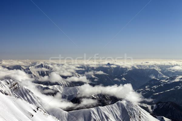 Tél hegyek pára Kaukázus Grúzia égbolt Stock fotó © BSANI