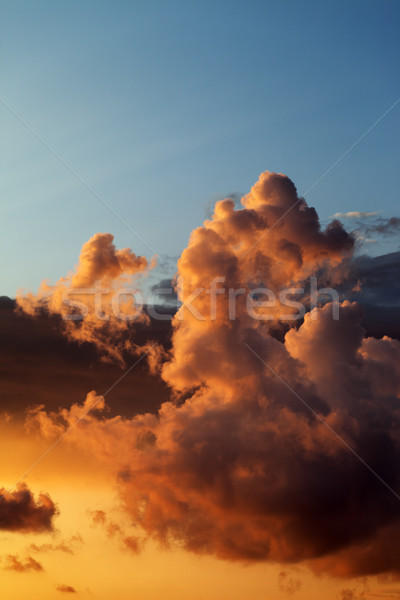 Ardiente puesta de sol mar paisaje fondo azul Foto stock © BSANI