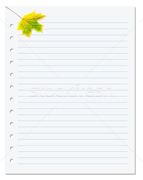 ноутбук бумаги желтый осень Maple Leaf белый Сток-фото © BSANI