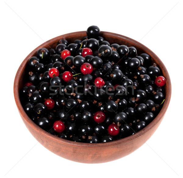 Stock photo: Blackcurrants and redcurrants in ceramic bowl