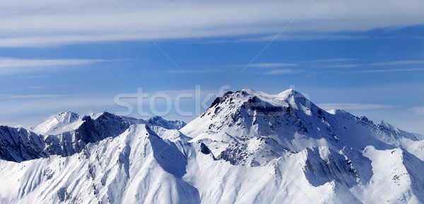Panoramic view on winter mountains in haze Stock photo © BSANI
