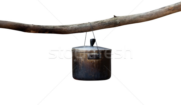 Caldeirão isolado branco metal vintage cozinhar Foto stock © BSANI