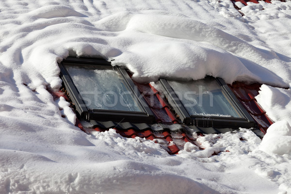 Stock photo: Snowy roof with windows