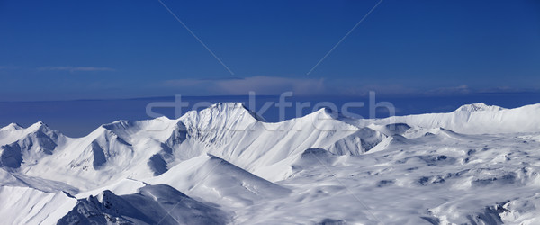 Panorama of snowy plateau at nice day Stock photo © BSANI