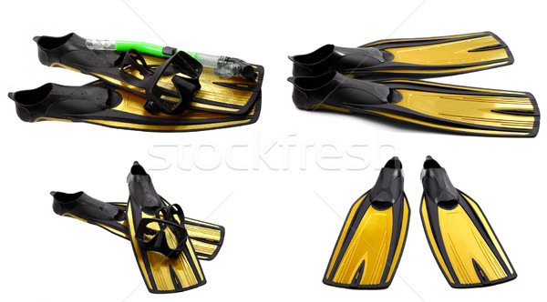 Set of yellow swim fins, mask and snorkel for diving Stock photo © BSANI