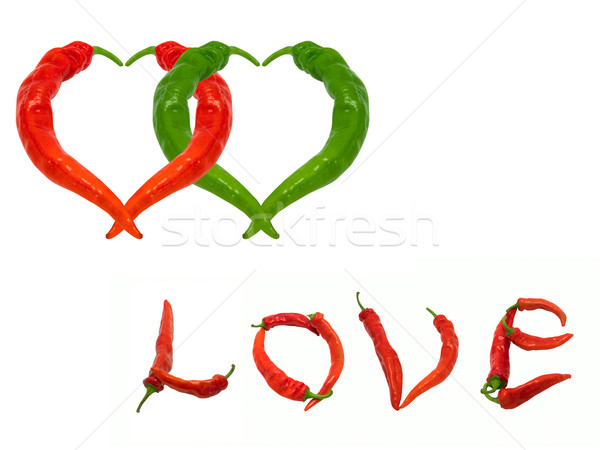 Stock photo: Two hearts and word Love composed of red and green chili peppers