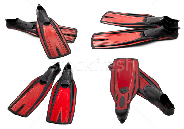 Set of red swim fins for diving Stock photo © BSANI