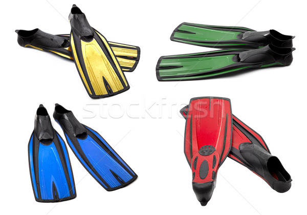 Set of multicolor swim fins for diving on white background Stock photo © BSANI