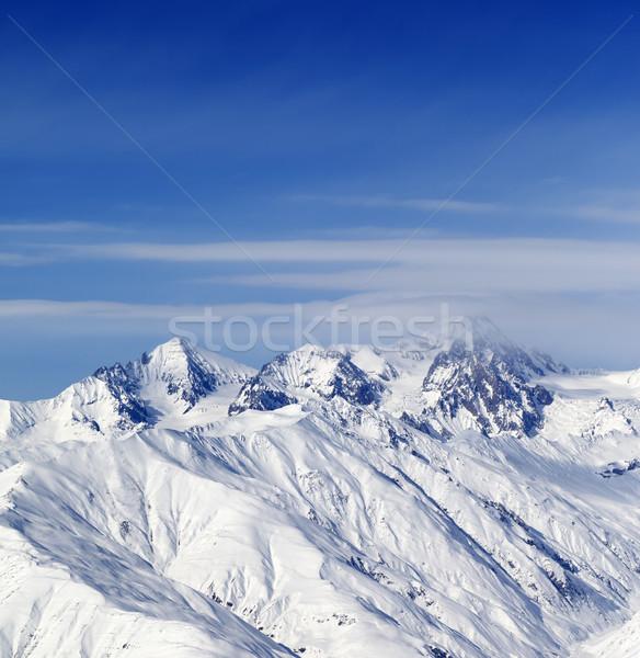Sunny slopes of winter mountains Stock photo © BSANI