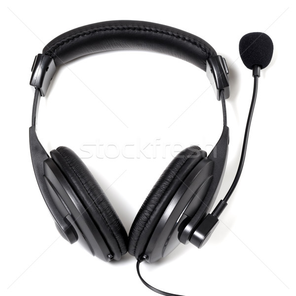 Fekete fejhallgató mikrofon izolált fehér háttér Stock fotó © BSANI
