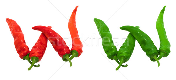 Letter W composed of green and red chili peppers Stock photo © BSANI