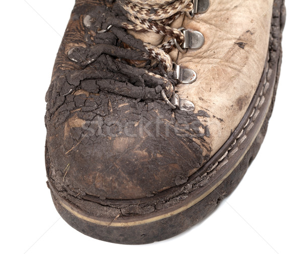 Part of old dirty hiking boot Stock photo © BSANI