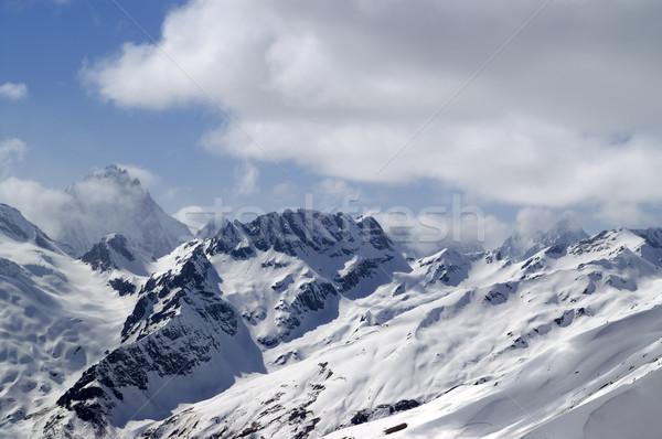 Kafkaslar dağlar manzara buz kış mavi Stok fotoğraf © BSANI