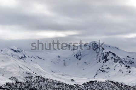 Snow mountain in fog at gray morning Stock photo © BSANI