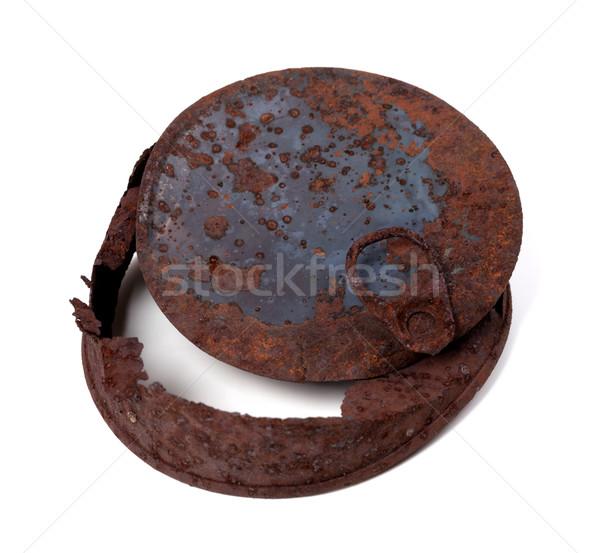 öreg rozsdás konzervdoboz konzerv izolált fehér Stock fotó © BSANI