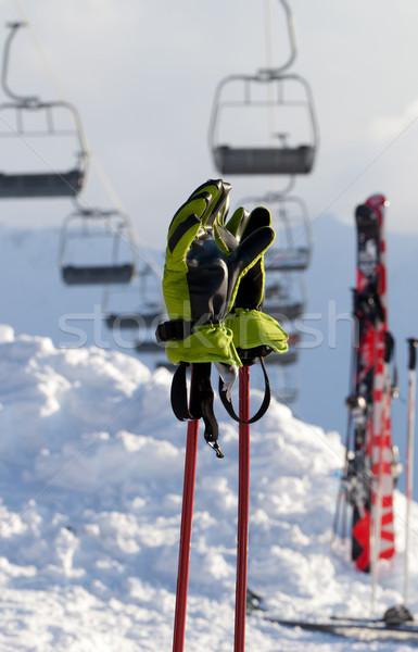 Handschuhe Ski Resort Sonne Sport Stock foto © BSANI