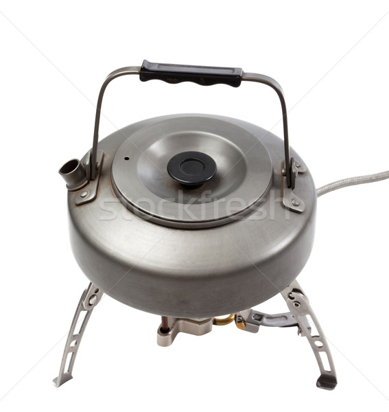 Camping gas stove and teapot Stock photo © BSANI