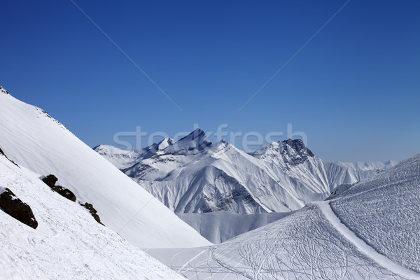 Ski resort with off-piste slope at nice sun day Stock photo © BSANI