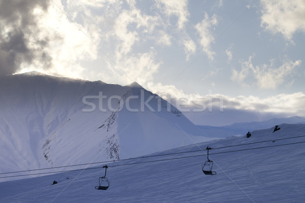 Ski slope and chair-lift in evening Stock photo © BSANI