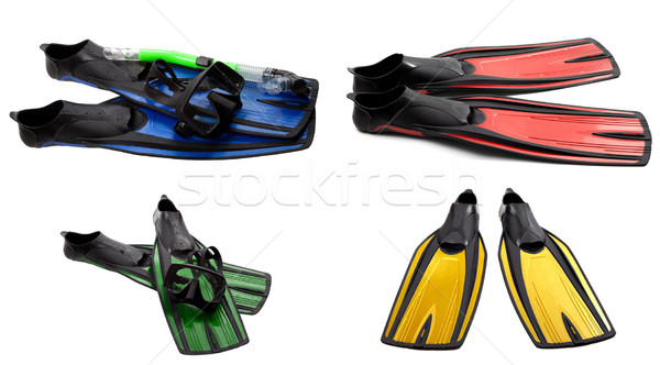 Set of multicolored swim fins, mask and snorkel for diving Stock photo © BSANI