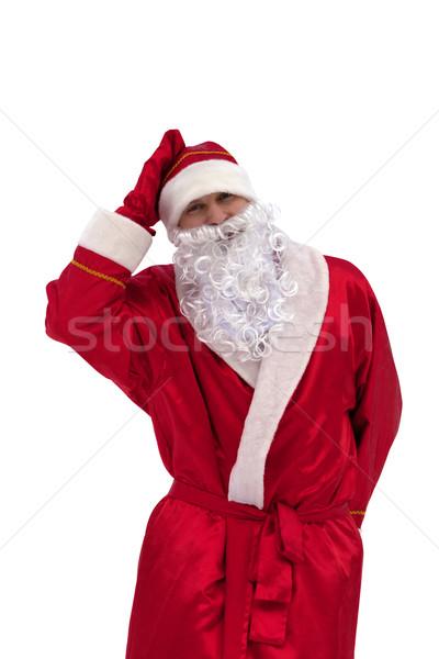 Noel baba yalıtılmış beyaz gülümseme mutlu saç Stok fotoğraf © BSANI