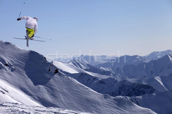 Freestyle ski croix neige hiver bleu Photo stock © BSANI