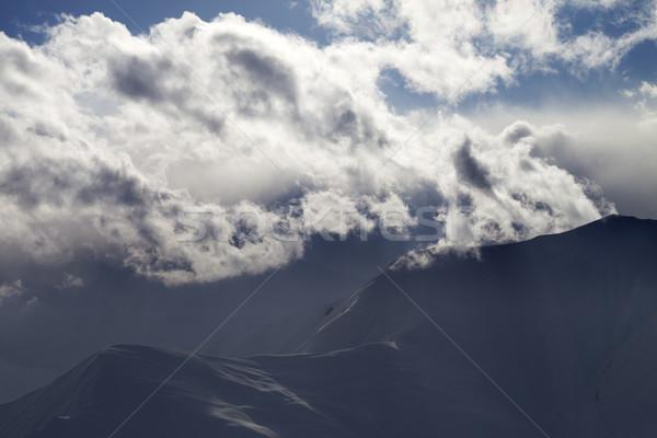 Evening winter mountain in haze Stock photo © BSANI
