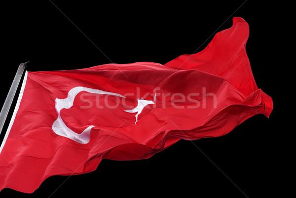 Сток-фото: турецкий · флаг · ветер · изолированный · черный
