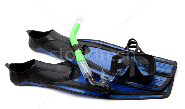 Mask, snorkel and flippers with water drops Stock photo © BSANI