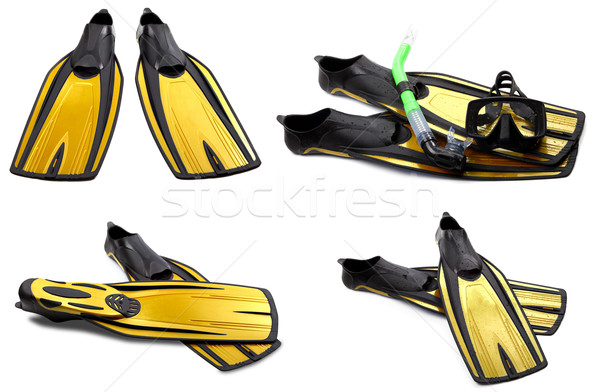 Set giallo nuotare maschera snorkel diving Foto d'archivio © BSANI