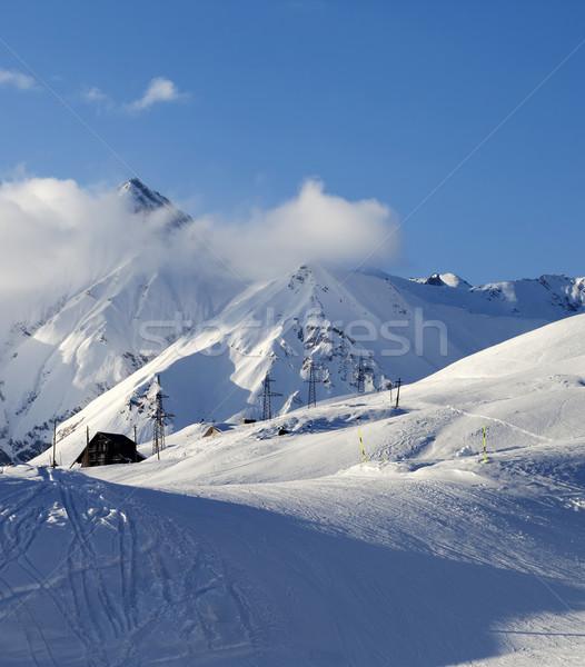 Stock photo: Hotel on ski resort at evening