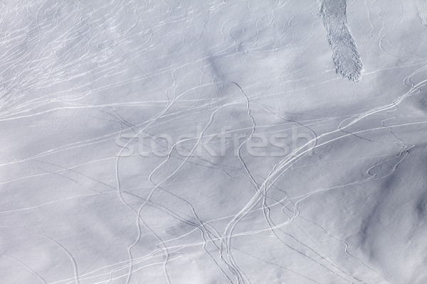 Off piste slope with traces of skis, snowboarding and avalanche Stock photo © BSANI