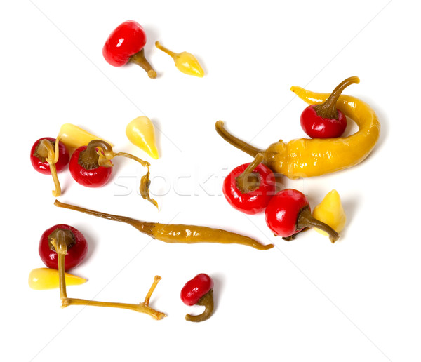 Mix of hot turkish marinated peppers Stock photo © BSANI