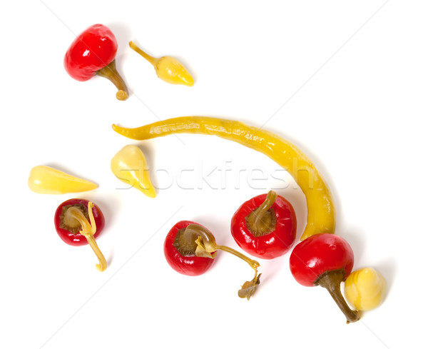 Stock photo: Mix of hot turkish marinated peppers