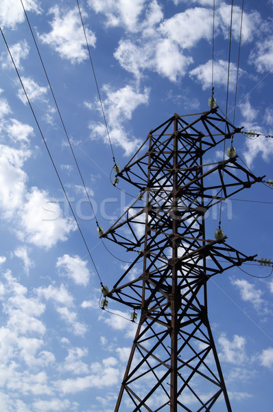 Power transmission line against blue sky with clouds Stock photo © BSANI